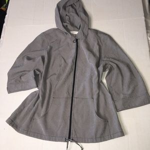 CJ Banks lightweight jacket zipper black white (H5